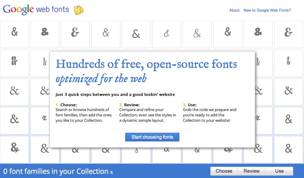 Screenshot do Google Web Fonts